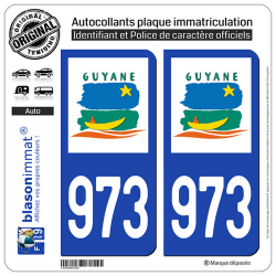 2 Autocollants plaque immatriculation Auto 973-H Guyane - LogoType