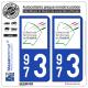 2 Autocollants plaque immatriculation Auto 973 Guyane - LogoType II