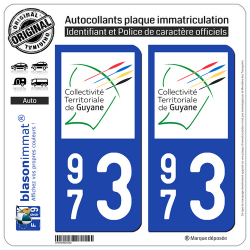 2 Autocollants plaque immatriculation Auto 973 Guyane - LogoType II