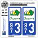 2 Autocollants plaque immatriculation Auto 973 Guyane - Département