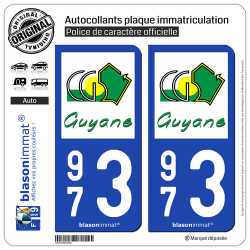 2 Autocollants plaque immatriculation Auto 973 Guyane - Département