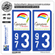 2 Autocollants plaque immatriculation Auto 973 Guyane - Tourisme