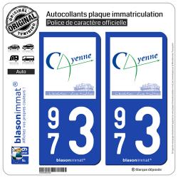 2 Autocollants plaque immatriculation Auto 973 Cayenne - Ville
