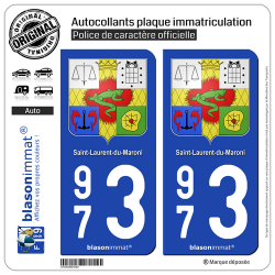 2 Autocollants plaque immatriculation Auto 973 Saint-Laurent-du-Maroni - Armoiries