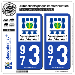 2 Autocollants plaque immatriculation Auto 973 Saint-Laurent-du-Maroni - Ville