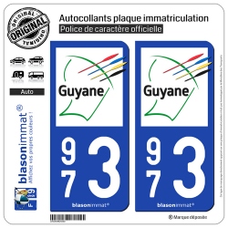 2 Autocollants plaque immatriculation Auto 973 Guyane - Collectivité
