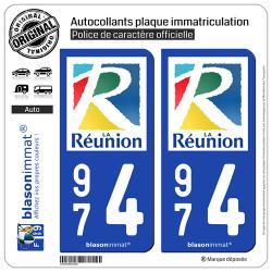 2 Autocollants plaque immatriculation Auto 974 Réunion - Département
