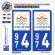 2 Autocollants plaque immatriculation Auto 974 Réunion - Tourisme