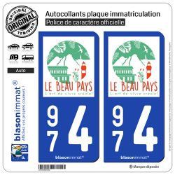 2 Autocollants plaque immatriculation Auto 974 Réunion du Nord - Tourisme