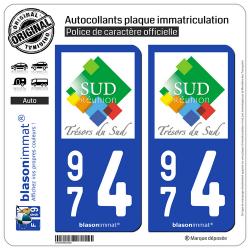2 Autocollants plaque immatriculation Auto 974 Réunion du Sud - Tourisme