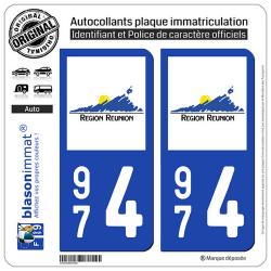 2 Autocollants plaque immatriculation Auto 974 Réunion - LogoType