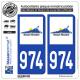 2 Autocollants plaque immatriculation Auto 974-H Réunion - LogoType