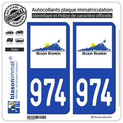 2 Autocollants plaque immatriculation Auto 974-H Réunion - LogoType