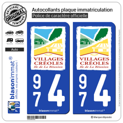 2 Autocollants plaque immatriculation Auto 974 Réunion - Villages Créoles