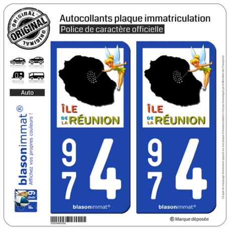 2 Autocollants plaque immatriculation Auto 974 Réunion - Fée Clochette