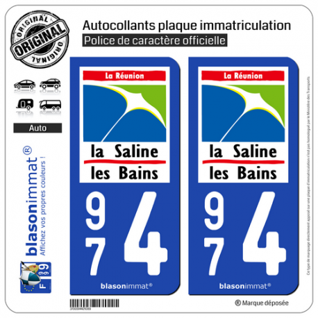 2 Autocollants plaque immatriculation Auto 974 Saline les Bains - Lieu-Dit