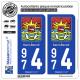 2 Autocollants plaque immatriculation Auto 974 Saint-Benoît - Armoiries