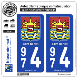 2 Autocollants plaque immatriculation Auto 974 Saint-Benoît - Armoiries