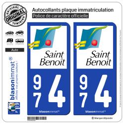 2 Autocollants plaque immatriculation Auto 974 Saint-Benoît - Ville
