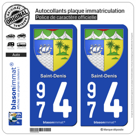 2 Autocollants plaque immatriculation Auto 974 Saint-Denis - Armoiries