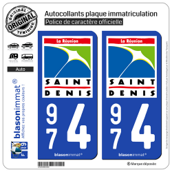 2 Autocollants plaque immatriculation Auto 974 Saint-Denis - Ville