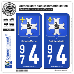 2 Autocollants plaque immatriculation Auto 974 Sainte-Marie - Armoiries