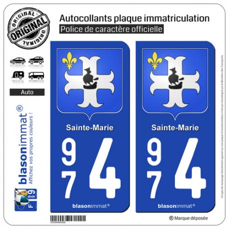 2 Autocollants plaque immatriculation Auto 974 Sainte-Marie - Armoiries