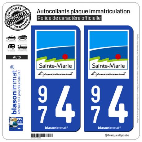 2 Autocollants plaque immatriculation Auto 974 Sainte-Marie - Ville