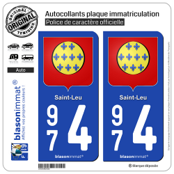 2 Autocollants plaque immatriculation Auto 974 Saint-Leu - Armoiries