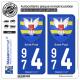 2 Autocollants plaque immatriculation Auto 974 Saint-Paul - Armoiries
