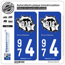2 Autocollants plaque immatriculation Auto 974 Réunion - en Force