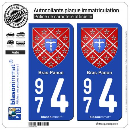 2 Autocollants plaque immatriculation Auto 974 Bras-Panon - Armoiries