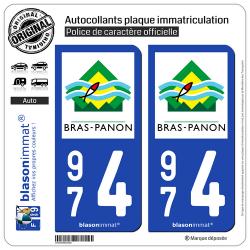 2 Autocollants plaque immatriculation Auto 974 Bras-Panon - Ville