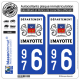 2 Autocollants plaque immatriculation Auto 976 Mayotte - LogoType