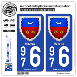 2 Autocollants plaque immatriculation Auto 976 Mayotte - Armoiries