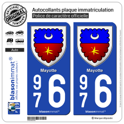 2 Autocollants plaque immatriculation Auto 976 Mayotte - Armoiries II