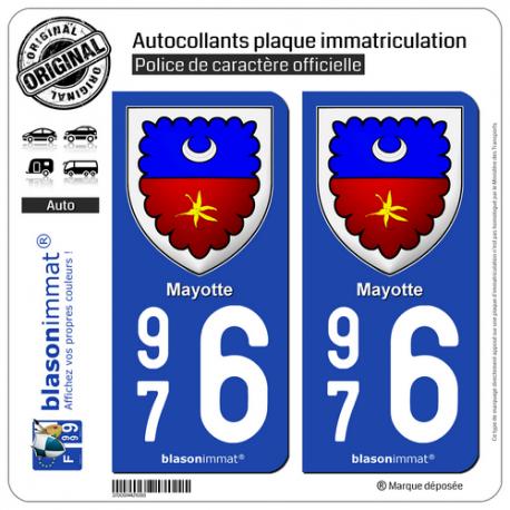 2 Autocollants plaque immatriculation Auto 976 Mayotte - Armoiries II