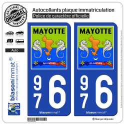 2 Autocollants plaque immatriculation Auto 976 Mayotte - Collector