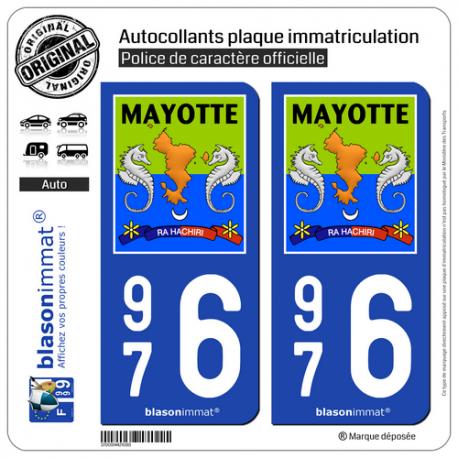 2 Autocollants plaque immatriculation Auto 976 Mayotte - Collector