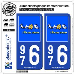2 Autocollants plaque immatriculation Auto 976 Mayotte - Île aux Trésors
