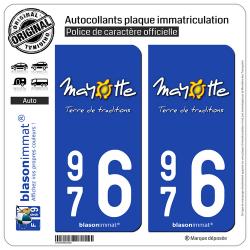 2 Autocollants plaque immatriculation Auto 976 Mayotte - Terre de Traditions