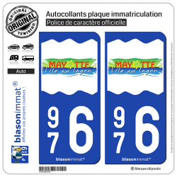 2 Autocollants plaque immatriculation Auto 976 Mayotte - Tourisme