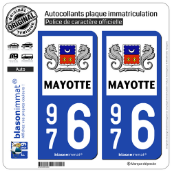 2 Autocollants plaque immatriculation Auto 976 Mayotte - Département