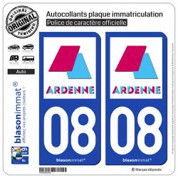 2 Autocollants plaque immatriculation Auto 08 Charleville-Mézières - Agglo