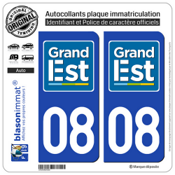 2 Autocollants plaque immatriculation Auto 08 Grand Est - LogoType