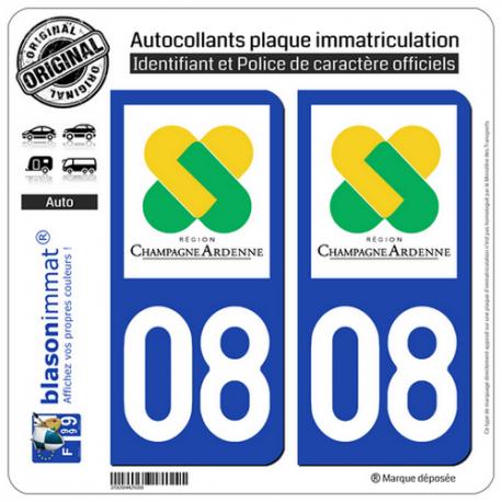 2 Autocollants plaque immatriculation Auto 08 Champagne-Ardenne - LogoType