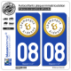 2 Autocollants plaque immatriculation Auto 08 Champagne-Ardenne - Tourisme