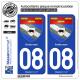 2 Autocollants plaque immatriculation Auto 08 Ardennes - Armoiries