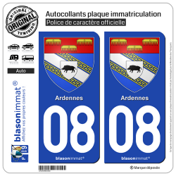 2 Autocollants plaque immatriculation Auto 08 Ardennes - Armoiries