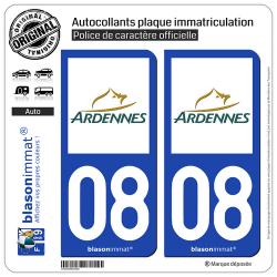 2 Autocollants plaque immatriculation Auto 08 Ardennes - Département